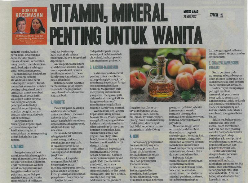 Vitamin, Mineral Penting Untuk Wanita – HARIAN METRO