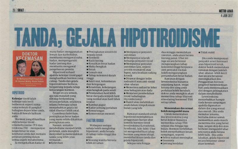 Tanda, Gejala Hipotiroidisme – HARIAN METRO